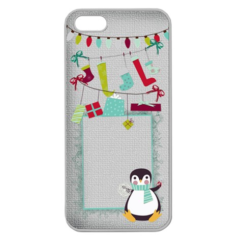 Christmas Penguin Iphone Case By Zornitza   Apple Seamless Iphone 5 Case (clear)   Tzv7iqncfh37   Www Artscow Com Front