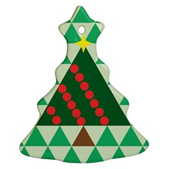 Holiday Triangles Christmas Tree Ornament (two Sides) by ContestDesigns