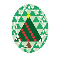 Holiday Triangles Ornament (Oval Filigree) by ContestDesigns