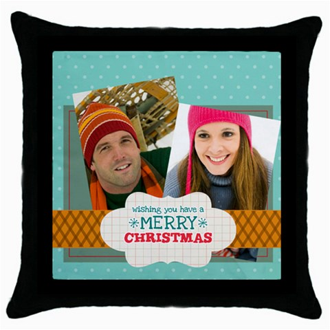 Merry Christmas By Merry Christmas   Throw Pillow Case (black)   Xzt6edjjpkdn   Www Artscow Com Front