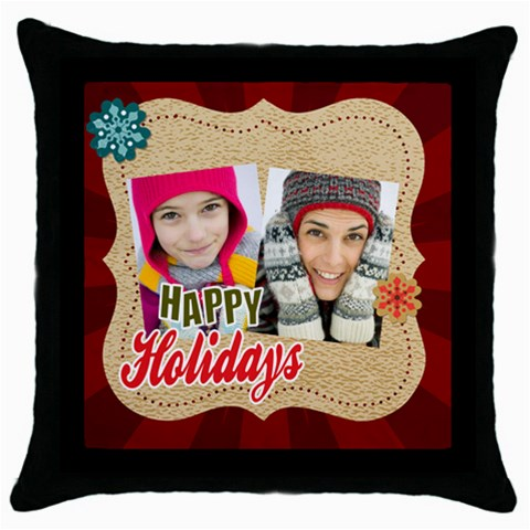 Merry Christmas By Merry Christmas   Throw Pillow Case (black)   Ajxa2gvwzqqs   Www Artscow Com Front