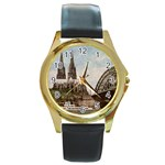 Cologne Round Metal Watch (Gold Rim)