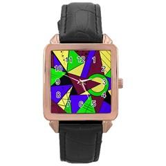 Modern Rose Gold Leather Watch  by Siebenhuehner