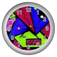 Modern Art Wall Clock (silver) by Siebenhuehner