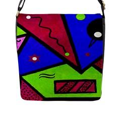 Modern Art Flap Closure Messenger Bag (large) by Siebenhuehner