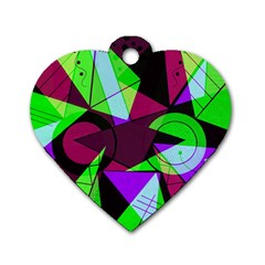 Modern Art Dog Tag Heart (two Sided) by Siebenhuehner