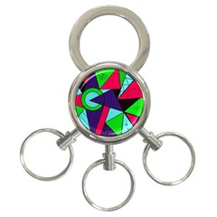Modern Art 3 Ring Key Chain by Siebenhuehner