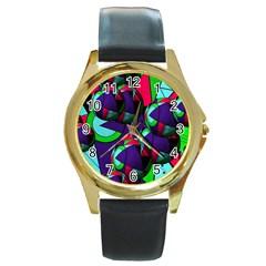 Balls Round Metal Watch (gold Rim)  by Siebenhuehner