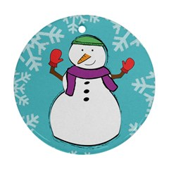 Snowman Round Ornament (two Sides) by PaolAllen