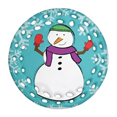 Snowman Round Filigree Ornament by PaolAllen