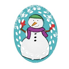 Snowman Oval Filigree Ornament (two Sides) by PaolAllen