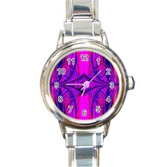 Modern Art Round Italian Charm Watch by Siebenhuehner