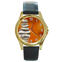 Balance Round Metal Watch (gold Rim)  by Siebenhuehner