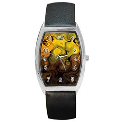 Modern Art Tonneau Leather Watch by Siebenhuehner
