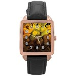 Modern Art Rose Gold Leather Watch  Front