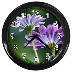 Flower Wall Clock (black) by Siebenhuehner