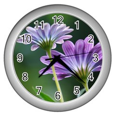Flower Wall Clock (silver) by Siebenhuehner