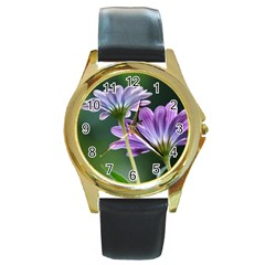 Flower Round Metal Watch (gold Rim)  by Siebenhuehner