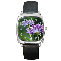 Flower Square Leather Watch