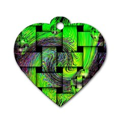 Modern Art Dog Tag Heart (one Sided)  by Siebenhuehner