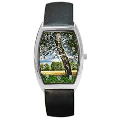 Trees Tonneau Leather Watch by Siebenhuehner