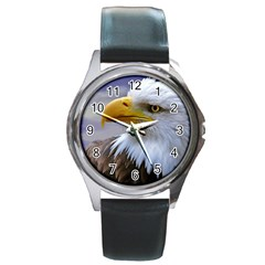 Bald Eagle Round Metal Watch (silver Rim) by Siebenhuehner