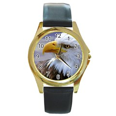 Bald Eagle Round Metal Watch (gold Rim)  by Siebenhuehner
