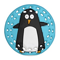 Hello Penguin Round Filigree Ornament (two Sides) by PaolAllen