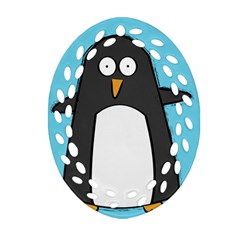 Hello Penguin Ornament (oval Filigree) by PaolAllen