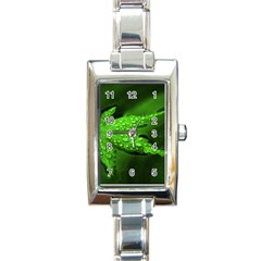 Leaf With Drops Rectangular Italian Charm Watch by Siebenhuehner