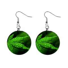 Leaf With Drops Mini Button Earrings