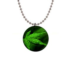 Leaf With Drops Button Necklace by Siebenhuehner