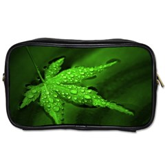 Leaf With Drops Travel Toiletry Bag (two Sides) by Siebenhuehner