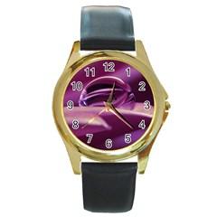 Waterdrop Round Metal Watch (gold Rim)  by Siebenhuehner
