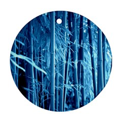 Blue Bamboo Round Ornament