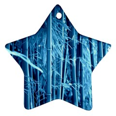 Blue Bamboo Star Ornament (two Sides) by Siebenhuehner