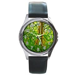 Bamboo Round Metal Watch (silver Rim) by Siebenhuehner