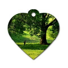 Trees Dog Tag Heart (two Sided) by Siebenhuehner
