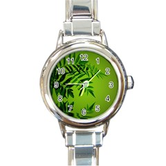 Leaf Round Italian Charm Watch by Siebenhuehner