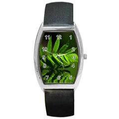 Leaf Tonneau Leather Watch by Siebenhuehner