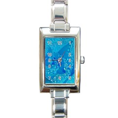 Blue Rose Rectangular Italian Charm Watch by Siebenhuehner