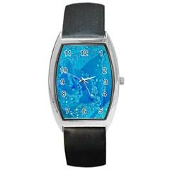 Blue Rose Tonneau Leather Watch by Siebenhuehner