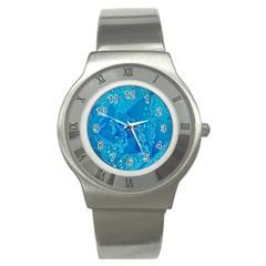 Blue Rose Stainless Steel Watch (unisex) by Siebenhuehner