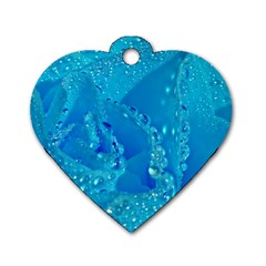 Blue Rose Dog Tag Heart (one Sided)  by Siebenhuehner