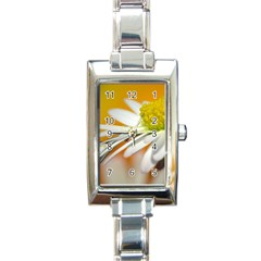 Daisy With Drops Rectangular Italian Charm Watch by Siebenhuehner
