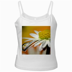 Daisy With Drops White Spaghetti Tank by Siebenhuehner