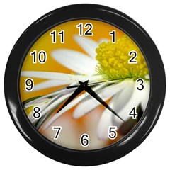 Daisy With Drops Wall Clock (black) by Siebenhuehner