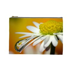 Daisy With Drops Cosmetic Bag (large) by Siebenhuehner
