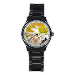 Daisy With Drops Sport Metal Watch (black) by Siebenhuehner