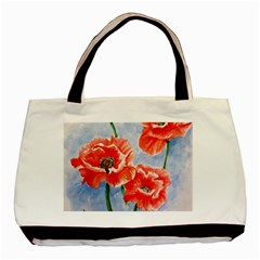Poppies Twin Sided Black Tote Bag by ArtByThree
